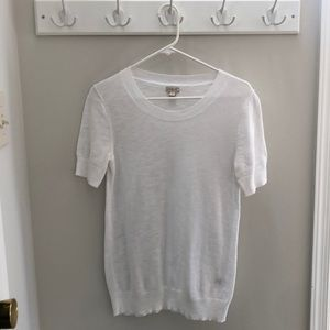 J. Crew White Cotton Sweater Top Small